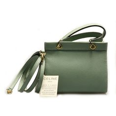 Authentic 1980s Vintage CELINE Pale Green Very Pretty 2Way Small Shoulder Bag!!