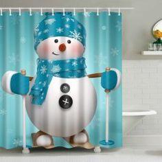 Xmas Snowman Fabric Waterproof Christmas Shower Curtain