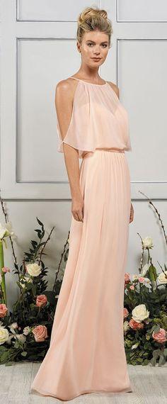 Unique Chiffon Jewel Neckline Floor-length A-line Bridesmaid Dresses With Belt