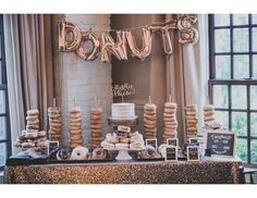 Unique wedding dessert display idea - a donut bar! {Enderes Photography}