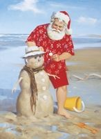 """'Shoreline Fun"""" Boxed Christmas Cards by Tom Browning depicts Santa at the beach building a sand snowman. Tropical Christmas, Beach Christmas, Coastal Christmas, Father Christmas, Christmas In July, Christmas Pictures, Vintage Christmas, Christmas Cards, Merry Christmas"""