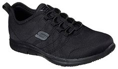Enjoy your whole day in sporty style and surefooted comfort in these Skechers Work Relaxed Fit® Ghenter Srelt SR shoes. Work Sneakers, All Black Sneakers, Skechers Work, Skechers Relaxed Fit, Comfortable Sneakers, Fabric Shoes, Lace Slip, Sporty Style