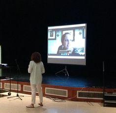 """Reading fun!!  TLibrarian Paula Bolander w/Aldo Leopold M.S. & author Victoria Scott - Skype #gpaea @PaulaBolander"""