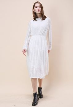 Take A Delicate Way Full Lace Dress in White