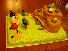 Angry Birds Cake - This cake was so much fun to make!  Half-sheet vanilla cake base with a chocolate cake burm for the piggies.  The birds and pigs and all other shapes were made from marshmallow fondant.  It took a lot of time and attention to detail to get the proportions of the birds and pigs to be true to the game, but they turned out really well.
