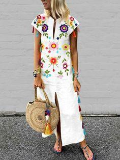 Plus Size Vintage Printed Fringed White Casual Dresses – Best Trends Women's Fashion Dresses, Skirt Fashion, Boho Fashion, Casual Dresses, Womens Fashion, Floral Dresses, Trendy Fashion, Cheap Fashion, Cotton Dresses