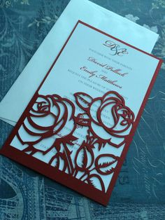 Laser Cut Wedding Invitations, Red Roses Wedding Invitations, Custom Personalized Invitations by CelineDesigns on Etsy Quinceanera Invitations, Laser Cut Wedding Invitations, Wedding Envelopes, Red Rose Wedding, Wedding Flowers, Wedding Cards, Wedding Day, Wedding Venues, Wedding Favors