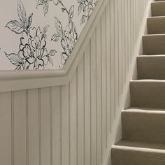 Skirting, architrave and wall paneling can often be overlooked as you contemplate . Stair Paneling, Wainscoting Stairs, Stair Walls, Hallway Walls, Wall Panelling, Stairs And Hallway Ideas, Staircase Ideas, Cottage Hallway, Mdf Wall Panels