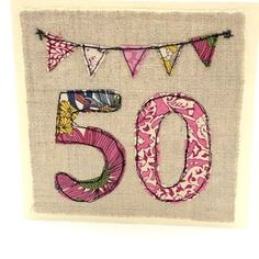 Free Motion Embroidery, Embroidery Hoop Art, Machine Embroidery, 70th Birthday Card, Unique Birthday Cards, Card Machine, Fabric Cards, Sewing Cards, Handmade Christmas