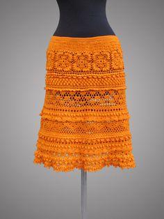 Crochet skirt Tory. Tangerine Organic Cotton Crochet Skirt. Made to order.