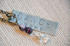 Dance More Hand Stamped Necklace, Purple, birthstone, gift for mom,