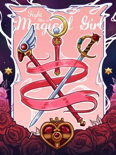 (Cardcaptor Sakura/Sailor Moon/Revolutionary Girl Utena) Sealing Wand, Moon Stick, and Cosmic Heart Compact