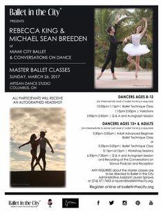 Master Classes with Miami City Ballet dancers Rebecca King and Michael Sean Breeden