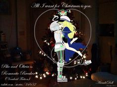 Artwork Title: Piko and Olivia: Christmas Mistletoe Kiss 2015 (plain)  A photomanipulation artwork of  Piko and Olivia from my vocaloid inspired novel  'Romantic Breaker' http://www.inkitt.com/stories/34652   and short story 'E Moon' http://www.inkitt.com/stories/39942.  The bg is my own photo, it is the tree here at home. Merry Christmas 2015 everyone!