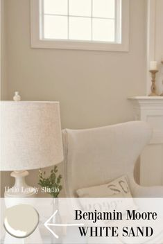 The walls in the living room are painted with Benjamin Moore White Sand - a soft and warm creamy shade with green undertones and a beachy feel. Neutral Paint Colors, Room Paint Colors, Paint Colors For Living Room, Paint Colors For Home, House Colors, Sand Color Paint, White Wall Paint, Best White Paint, White Paints