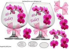 A lovely brandy glass shaped card with orchid decoupage 40 Birthday, Birthday Cards, Printable Art, Free Printables, Celebration Images, Brandy Glass, 3d Sheets, 3d Paper Crafts, Shaped Cards