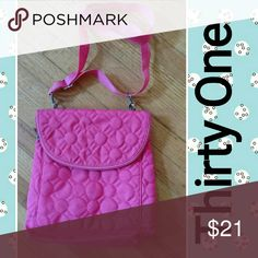 Thirty one pink bag Thirty one bubble gum pink crossbody bag that can easily be converted into a backpack or shoulder bag. Few marks on bottom otherwise excellent condition. See last pic thirty one Bags