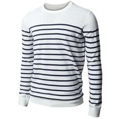 H2H Mens Striped Crewneck Sweater (51 CAD) ❤ liked on Polyvore featuring men's fashion, men's clothing, men's sweaters, men, mens crewneck sweaters, mens sweaters, mens striped sweater and mens crew neck sweaters