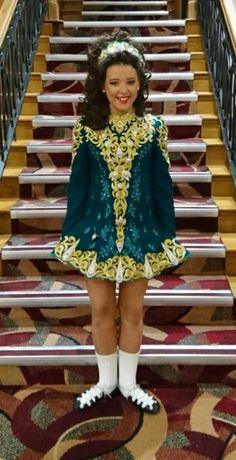 Charming Green Maureen McHugh Irish Dance Dress Solo Costume For Sale