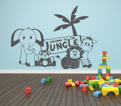 Welcome to the jungle - jungle animals- Vinyl Lettering (Interior & Exterior Available)