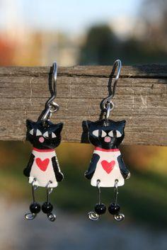 Cute enameled stainless steel black cat dangle by CinkyLinky