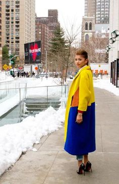 Love super-saturated hues for winter! #streetstyle #nyfw