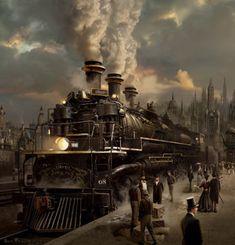 #steampunk -- Diligencias, grandes barcos de vapor y, sobre todo, ferrocarriles.
