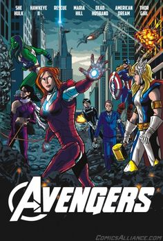 Comics Alliance asked Chris Haley to draw this recast version of The Avengers, where every character is replaced by their canonical opposite gender counter part (from left to right: She-Hulk, Kate Bishop, Pepper Potts as Rescue, Maria Hill, American Dream, and Thor Girl) except Black Widow, who doesn't have one.