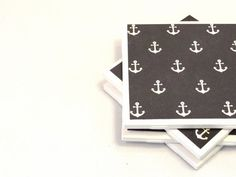 Nautical Coasters  Anchors Navy Blue and by littlecoastergnome, $14.00