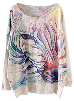 Futurino Womens Divine Horse Long Batwing Sleeve Pullover Sweater *** Details can be found by clicking on the image.