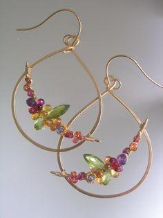 """Gemstone Teardrop Hoop Earrings, Gold Filled, Curved Arc, Sculptural, Sapphire, Peridot, Delicate Hoops, Signature Original, 2 3/8"""" by bellajewelsII on Etsy https://www.etsy.com/listing/191924446/gemstone-teardrop-hoop-earrings-gold"""