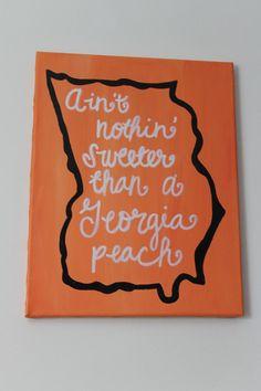 Georgia Peach 11x14 Original Handdrawn Acrylic by emeelouwho, $23.00