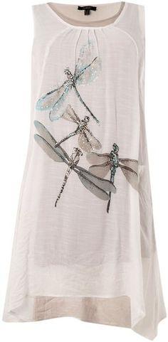 White Dragonfly Print Dress