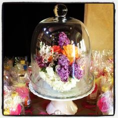 Baby Shower. This large cloche was placed on a cake stand!
