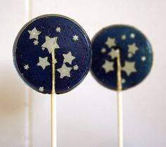 Some of the coolest lollipops we have EVER made! These lollipops would make the perfect addition to any baby shower, star themed wedding, gothic