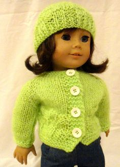 Lime Green Hat and Sweater Set American Girl by PreciousBowtique, $14.00