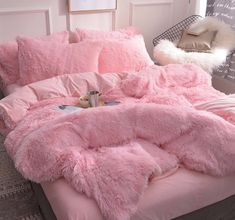 Fluffy Duvet Cover With Pillow Cover 3 Pieces Set – room inspo – einrichtungsideen wohnzimmer Room Ideas Bedroom, Girls Bedroom, Bedroom Decor, Master Bedroom, Bed Room, Master Suite, Bedroom Furniture, Bedroom Curtains, Bedroom Colors