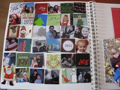 Scrapbooking a square of each Christmas card received...