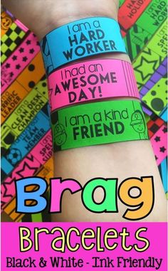 These 'Brag Bracelets' are an awesome classroom management tool will have students want to work hard to earn them!I particularly love the fact that students get to take them home which helps to create a positive teacher/parent communication. Classroom Behavior Management, Behaviour Management, Classroom Rewards, Classroom Behaviour, Student Rewards, Management Tips, Classroom Community, Future Classroom, Parent Teacher Communication