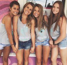 Alpha Phi at Arizona State University Denim Shorts Style, Jean Shorts, Cute Girls, Best Friend Poses, 10 Most Beautiful Women, Navy Blue Cocktail Dress, Custom Greek Apparel, Beach Poses, Friendship