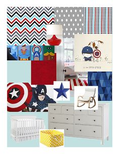 Baby room inspiration board I just made.  Teal, red, yellow, gray & white.  Superhero inspired.