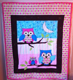 Baby Girl Homemade, Handcrafted Owl Crib Quilt Baby Blanket or Wall Hanging by SheandMeDesigns  So cute!!!!!