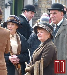"""Downton Abbey"" cast members spotted filming scenes for the upcoming sixth series of the hit show in the Wiltshire village of Lacock, UK."