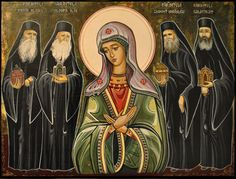 An amazing Orthodox icon from Romania. In the middle stands our Lady among some important contemporary Orthodox elders like Elder Cleopa Ilie and Elder Paisie.  Our Mother is so beautiful! ♥