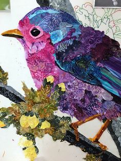 the Road: Empty Spools Session 2 Robin Moore. Paper Collage Art, Paper Art, Vogel Quilt, Fiber Art Quilts, Landscape Art Quilts, Bird Quilt, Animal Quilts, Thread Painting, Sewing Art