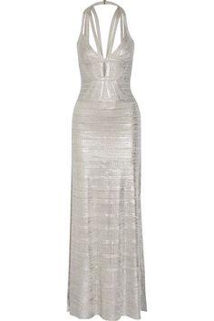 Hervé Léger - Madeleine Cutout Metallic Pointelle-knit Bandage Gown - Silver -