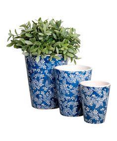 Another great find on #zulily! Blue Floral Round Flowerpot Set by Esschert Design #zulilyfinds