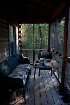 Oh, to enjoy a week in a cabin where I can eat out on this porch every day!