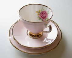 Clare Bone China Tea Trio Pink Rose by TheWhistlingMan on Etsy