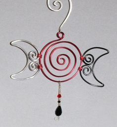 Triple Goddess Moon Symbol Wire Art by ReddMoonCreations on Etsy, $10.00